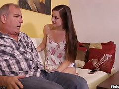 Teenie Wants To Attempt Her Handjob Skills On Mature Dude