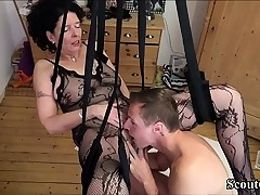 German Step-Son Tear up Mother with Stockings in Love Swing