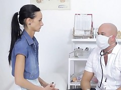 Honey is seducing her lascivious doctor, in his office
