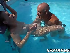 Teen slut Lulu Love gets doggy styled by grandpa Bruno