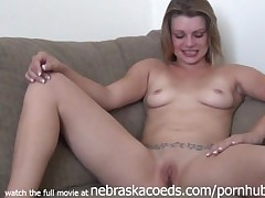 gorgeous lady naked sofa interview in her house