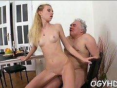 Saucy young playgirl enjoys getting old rod in pussy
