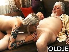 Inked hooker fucked by old man she swallows his cum