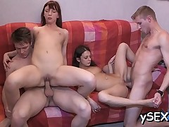 Gangbang ends up for 2 immodest cunts with a lot of climaxes