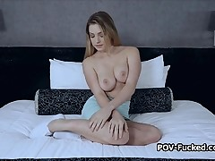 Big tit inexperienced drilled Point of view style at casting