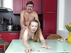 Steamy sex in the kitchen inbetween young babe Dana
