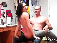 Bare-breasted college brunette giving lap dance