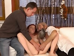Old guys group bang first time Unexpected experience with