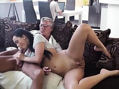 Old man youthful rough gangbang and blowjob in our tent What