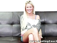Platinum-blonde with a good smile on CastingCouchX