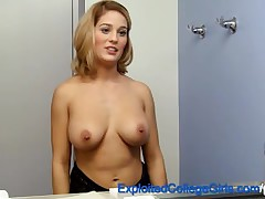 Busty First Timer Fucked and Facialed