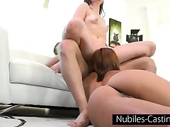 Steaming three-way for youthful pornstar in training