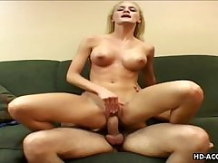 Blonde busty stunner has a huge cock up her c